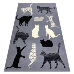 Tepih BCF FLASH Mačkas 3996 - Mačke, mačići Siva