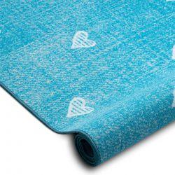 Gyerekeknek szőnyegpadló szőnyeg HEARTS Jeans, vintage szíveket - türkiz