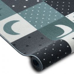 Fitted carpet for kids STARS children's turquoise / grey