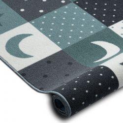 Wykładzina dywanowa dla dzieci STARS gwiazdy, gwiazdki, dziecięca, turkus / szary