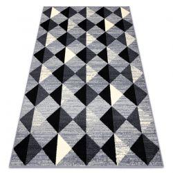 Tapis BCF 3987 Trigone, triangles, carrés, géométrique gris / ivoire