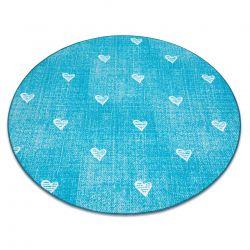 Carpet for kids HEARTS circle Jeans, vintage children's - turquoise