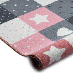 Tapete adaptado para crianças STARS estrelas rosa / cinzento