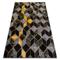 Koberec GLOSS moderni 400B 86 stylový, glamour, art deco, 3D geometrický černý / zlato