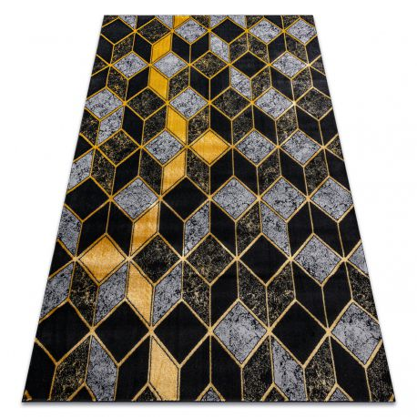 ковер GLOSS современный 400B 86 стильный, glamour, art deco, 3D геометрический черный / золото