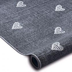 Gyerekeknek szőnyegpadló szőnyeg HEARTS Jeans, vintage szíveket - szürke