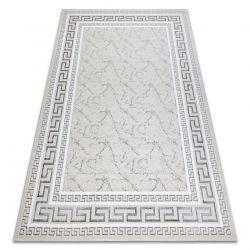 Modern GLOSS Carpet 2813 57 stylish, frame, greek ivory / grey