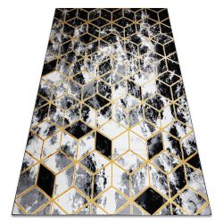 Modern Carpet 3D GLOSS 409A 82 Cube stylish, glamour, art deco black / gold / grey