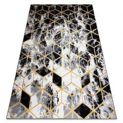 Tapis moderne 3D GLOSS 409A 82 cube élégant, glamour, art deco noir / or / gris