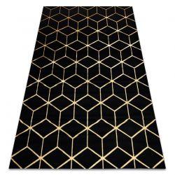 Modern GLOSS 3D szőnyeg 409C 86 Kocka elegáns, glamour, art deco fekete / arany