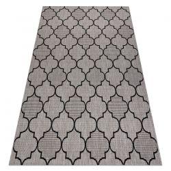 Ковер шнуровой SIZAL FLOORLUX 20607 Марокканская решетка серебро / черный