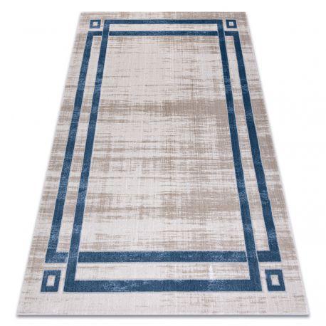Modern NOBLE carpet 1539 68 Frame vintage - structural two levels of fleece cream / blue