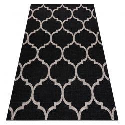 Ковер шнуровой SIZAL FLOORLUX 20608 Марокканская решетка черный / серебро