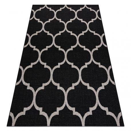 Alfombra de cuerda sisal FLOORLUX 20608 Espaldera marroquí negro / plateado