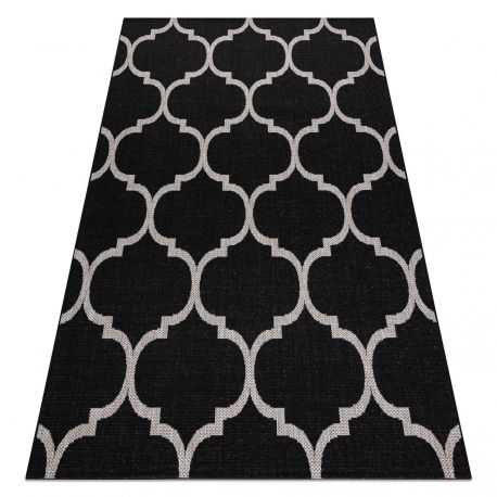 Килим SIZAL FLOORLUX 20608 Марокански решетка черно / сребро