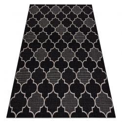 Ковер шнуровой SIZAL FLOORLUX 20607 Марокканская решетка черный / серебро