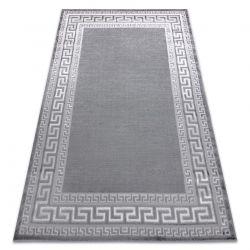 Tapete MEFE moderno 2813 Quadro, chave grega - Structural dois níveis de lã cinza cinzento
