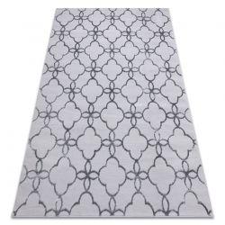 Tapete MEFE moderno 8504 Treliça, flores - Structural dois níveis de lã cinza escuro