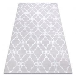 Tapete MEFE moderno 8504 Treliça, flores - Structural dois níveis de lã cinzento / branco