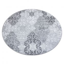 Moderní MEFE koberec kulatý 8734 Ornamenty-Strukturální, dvě úrovně rouna šedá