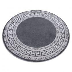 модерен MEFE килим 2813 кръг кадър, гръцки ключ - structural две нива на руно сив