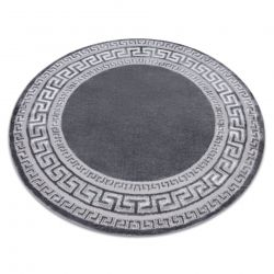 Moderní MEFE koberec kulatý 2813 vzor rámu, řecký klíč - Strukturální, dvě úrovně rouna šedá