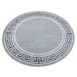 Moderní MEFE koberec kulatý 9096 vzor rámu, řecký klíč - Strukturální, dvě úrovně rouna šedá