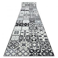 Csúszásgátló futó szőnyeg AZULEJO PATCHWORK, LISZABONI CSEMPEK szürke / fekete