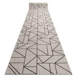 Пътеки SIZAL FLOORLUX модел 20605 триъгълници, геометричен сребърен / черно