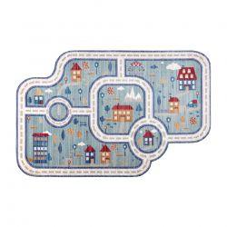 Moderní dětský koberec TOYS 7532 ULICE, 3D efekt, nepravidelný tvar, modrá, tyrkysová, krémová