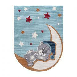 Moderní dětský koberec TOYS 75322 MEDVÍDEK, neprvidelný tvar, modrá, tyrkysová, krémová