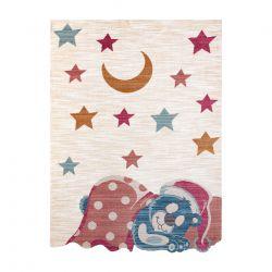 Children's carpet TOYS 75323 Teddy bear for children - modern, irregular shape navy cream / red fuchsia
