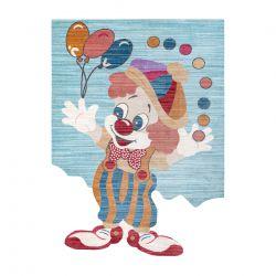 Moderní dětský koberec TOYS 75328 KLAUN, nepravidelný tvar, modrá, tyrkysová, červená fuchsie
