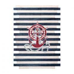 Moderní dětský koberec TOYS 75324 KOTVA, nepravidelný tvar, krémová, tyrkysová, tmavě modrá
