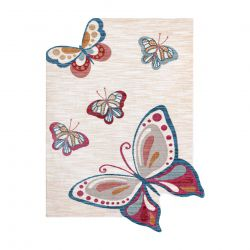 Moderní dětský koberec TOYS 75326 MOTÝL, nepravidelný tvar, krémová, červená fuchsie