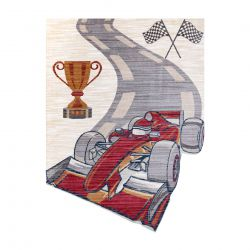 Moderní dětský koberec TOYS 75327 FORMULE 1, neúpravidelný tvar, krémová, červená fuchsie