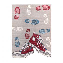 Dywan dziecięcy TOYS 75325 Trampki, buty dla dzieci - nowoczesny, nieregularny kształt szary / czerwony fuksja