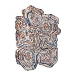 Moderní koberec TINE 75312A Pařez stromu, nepravidelný tvar, terakota, modrý
