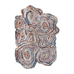 Tapis TINE 75312A Arbre Bois - moderne, forme irrégulière terre cuite / bleu