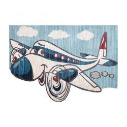 Children's carpet TOYS 75320 Plane for children - modern, irregular shape, 3D effect, navy blue - turquoise / cream