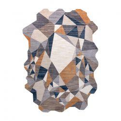 Tapis TINE 75419A mosaïque - moderne, forme irrégulière gris / jaune