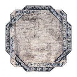 Tapis TINE 75425B Cadre vintage - moderne, forme irrégulière gris / bleu foncé