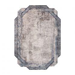 Tapis TINE 75425A Cadre vintage - moderne, forme irrégulière gris / bleu foncé