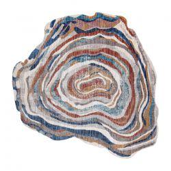 TINE Szőnyeg 75312B Fa Faipari - modern, rendhagyó forma - terrakotta / kék