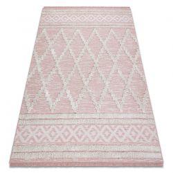 Tapete ECO SIZAL BOHO MOROC Diamantes 22297 franjas - dois níveis de lã cinza rosa / creme, tapete reciclado
