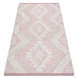 Carpet ECO SISAL Boho MOROC Diamonds 22312 fringe - two levels of fleece pink / cream, recycled carpet