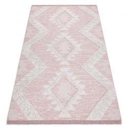 Dywan MOROC Romby 22312 Ekologiczny, EKO SIZAL frędzle - dwa poziomy runa różowy / krem, dywan z bawełny recyklingowanej