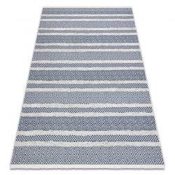 Tapis ECO SIZAL BOHO MOROC Lignes 22328 franges - deux niveaux de molleton crème / bleu foncé, tapis en coton recyclé