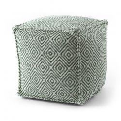 Puff carré 50 x 50 x 50 cm Pouf Boho 21844 repose-pieds, siège en laine, crème / vert