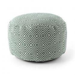 Puff CILINDRO 50 x 50 x 50 cm Pouf Boho 21844 poggiapiedi, sedile di lana, crema / verde